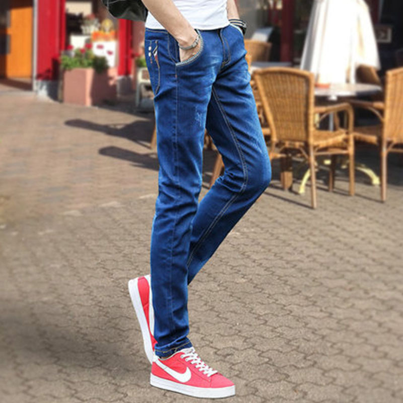 Slim Fit Jeans Men's Summer Thin Section Men Skinny Pants Casual Youth Straight-Cut Pants Men's Korean-style Autumn And Winter