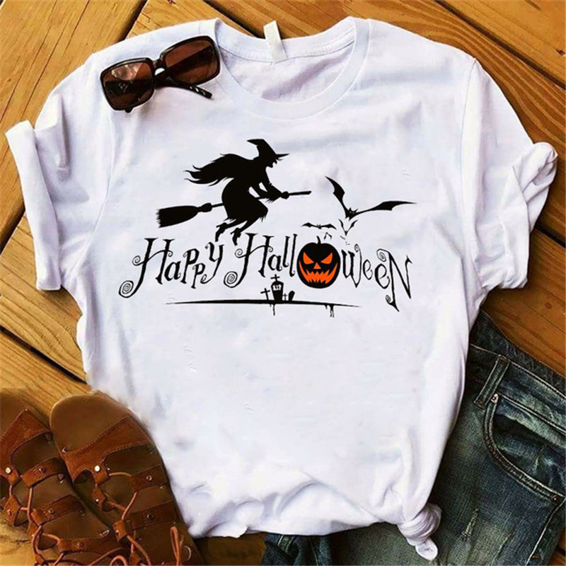 Happy <font><b>Halloween</b></font> T Shirt Witch <font><b>Graphic</b></font> T-shirts for Women White Casual Short Sleeve Tee Shirt Gothic <font><b>Tshirt</b></font> Hip Hop Tops Tumblr image