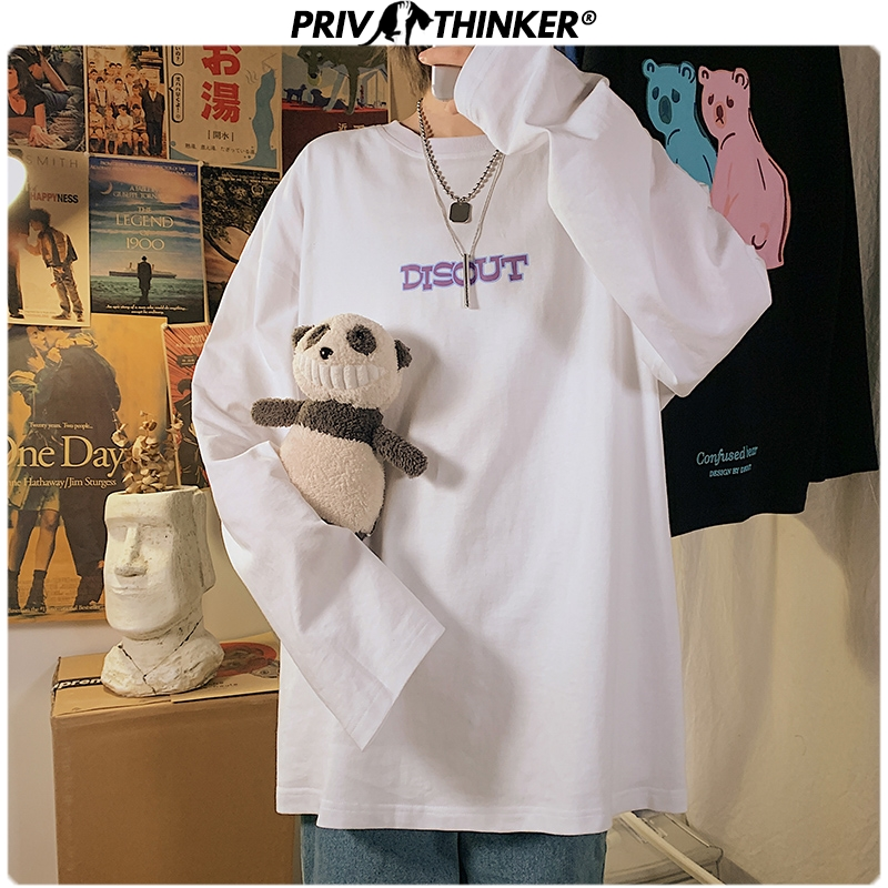 Privathinker Spring New Men's Long Sleeve T Shirts 2020 Korean Teddy Printed Man Can Wear Women Casual Pullovers 5XL