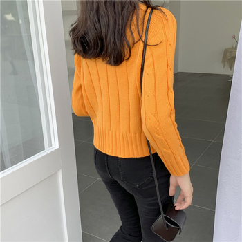 Ailegogo New 2020 Winter Women's Crop Top Sweaters Tops Fashionable Korean Style Knitting Casual Solid Pullover O-neck 3