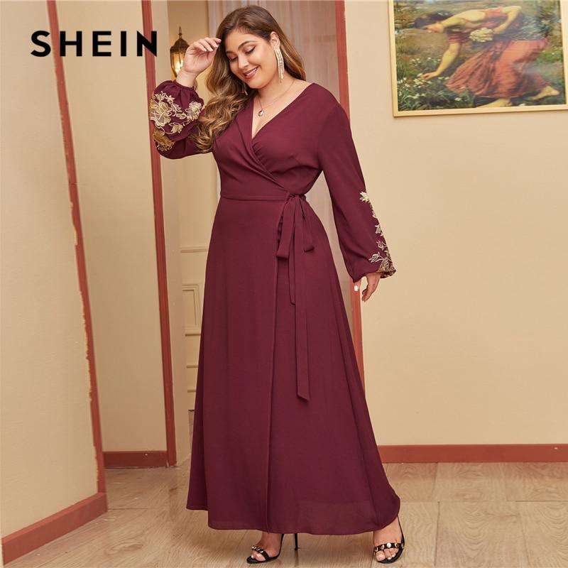 SHEIN Plus Size Burgundy Embroidered Floral Wrap Belted Maxi Dress Women Bishop Sleeve V-neck A Line Elegant Dresses 2