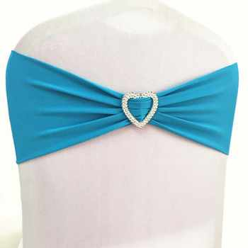 100pcs Royal Blue Lycra Stretch Wedding Chair Bow Sash Elastic Spandex Chair Band With Heart Buckle For Hotel Event Wedding