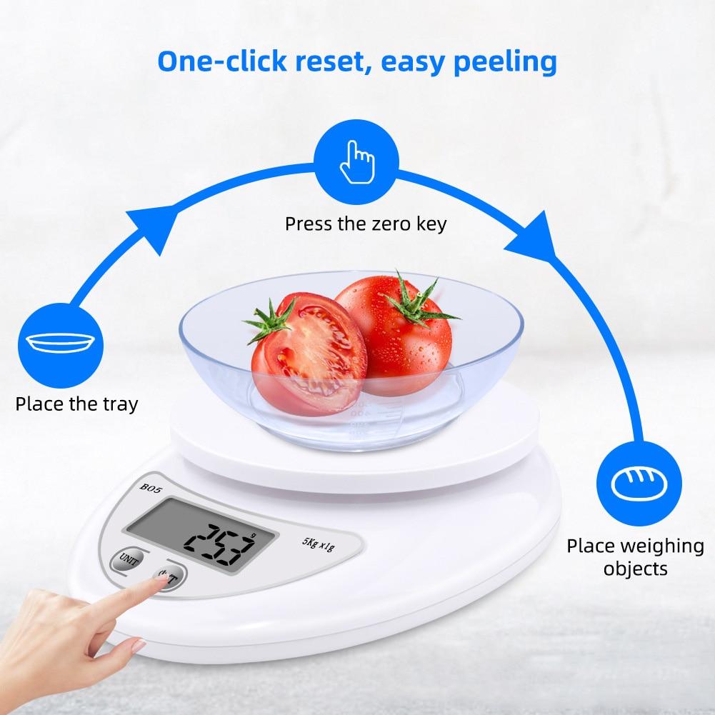 Портативные цифровые весы 5 кг/1 г, пищевые, диетические, кухонные, светодиодный электронный измерительные весы, кухонные весы для выпечки и приготовления пищи-2