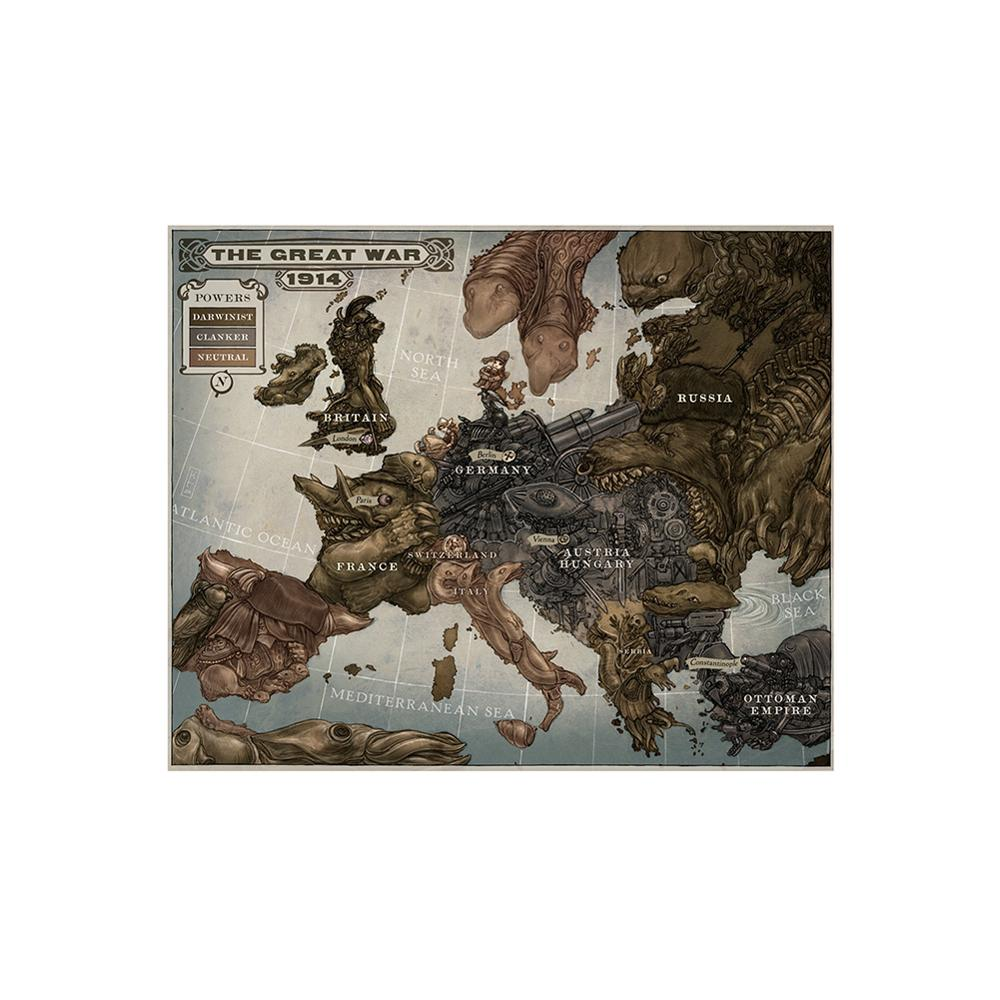 150x225cm Non-woven Office Home Decor Map The Great War 1914 History Map Of Europe WW1 Waterproof Poster