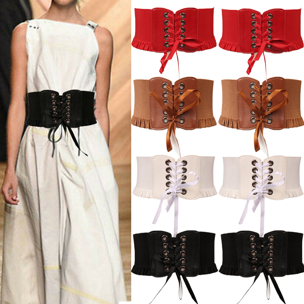 Womens Lady Waistband Cummerbunds Stretch Waist Belt Wide Lace Elastic Lace Up Corset
