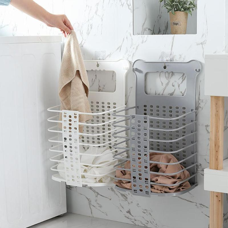 Plastic Foldable Laundry Storage Basket With Handle Dirty Cloth Toy Standing Organizer Basket Bathroom Storage Wall-Mounted