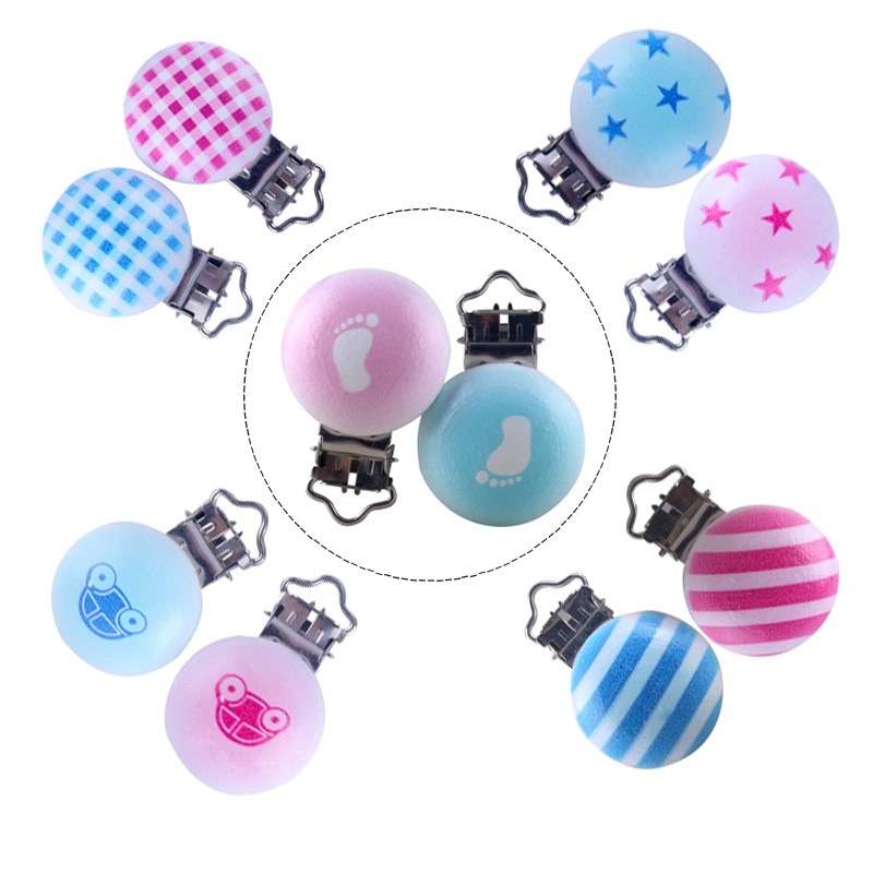 XCQGH 5PCS DIY Accessories Pacifier Clip A Variety Of Candy-colored Clip Baby Pacifier Chain Accessories Wooden Clip