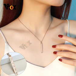 Vnox Simple Customize Engrave Vertical Bar Pendant Necklaces for Women Pink Gold Color Fashion Jewelry Gifts for Her