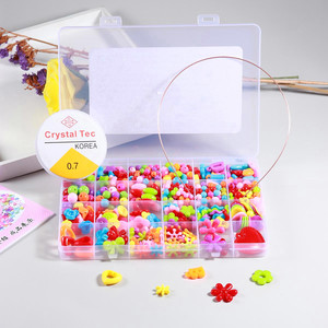Apx450pcs Bracelet Necklace Beads Jewelry Making Set Colorful Craft Acrylic Beads with Bonus Accessories for Girls Gift Puzzle