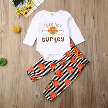 Newborn Baby Kids Girl Thanksgiving Clothes Set Romper Turkey Tops+Pants Loose Jumpsuit Autumn Outfits Set Clothes(China)