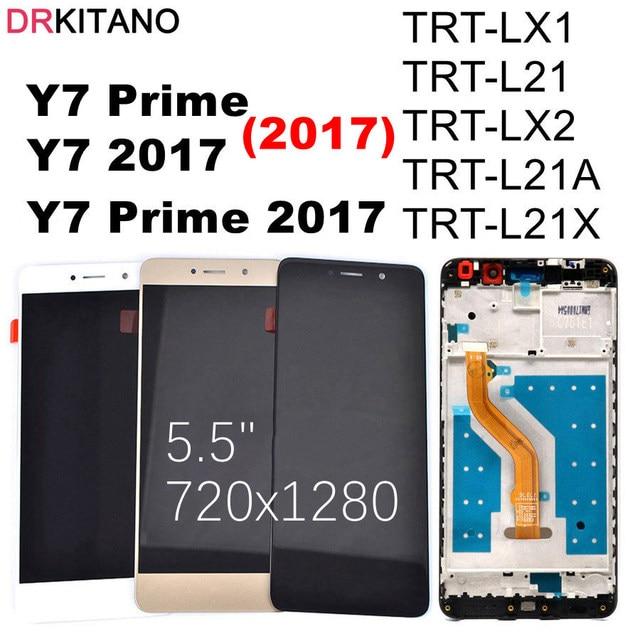 Tela digitalizadora lcd para huawei y7 2017, display de tela touch screen para huawei y7 prime 2017 com moldura TRT L21 TRT LX1