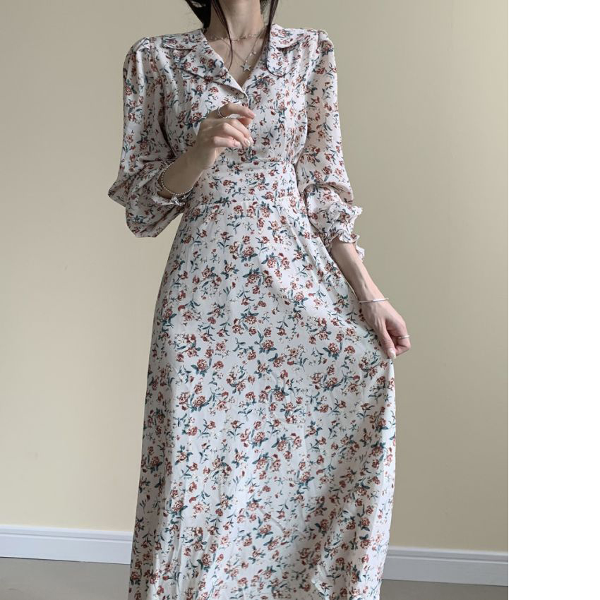 H618e47080f2a43eaaf01163cb617e3c6g - Autumn Revers Collar Long Sleeves Floral Print Midi Dress