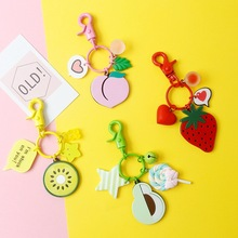 Doreen Box Cute Fresh Acrylic Fruit PU Leather Rope Keychain Keyring Silver Color Ring Lobster Clasp Car Key Bags Pendant 1 PC