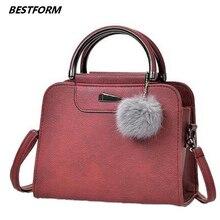 BESTFORM Women Bags Plush Ball Crossbody Bag Fashion Female Handbag Retro Vintage Soft Leather Shoulder Luxury Handbags