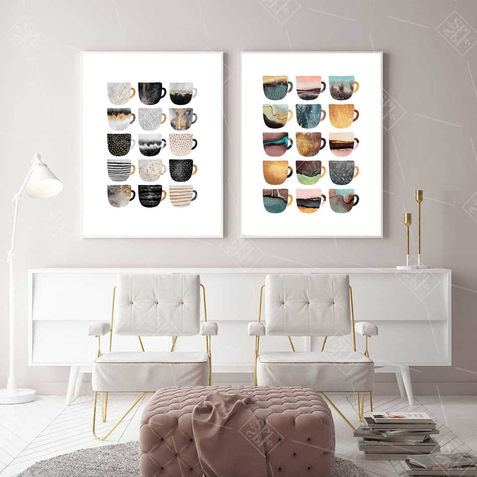 Nordic Coffee Cup Metallic Canvas Painting Cute Geometric Pear Posters Wall Art Pictures For Living Room Dining Room Cafe Decor