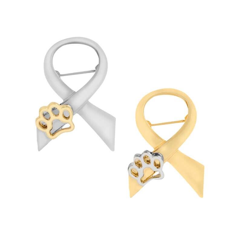 "PAW ทองเข็มกลัด Pin Silver Bow Tie Claw love ป้าย ""Animal abuse Stand"" consciousness เข็มโลหะ COLLAR Badge ของขวัญเด็ก"