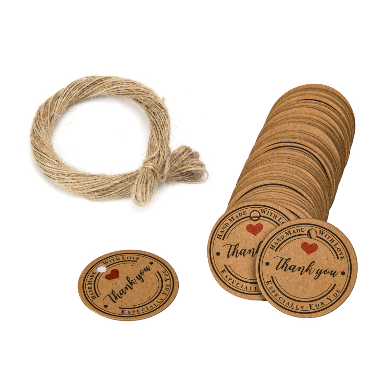 100PCS Thank you Tag for wedding favors Hand Made With Love thank Especially For You Bags Gift Bag Sealed Package Jute twine