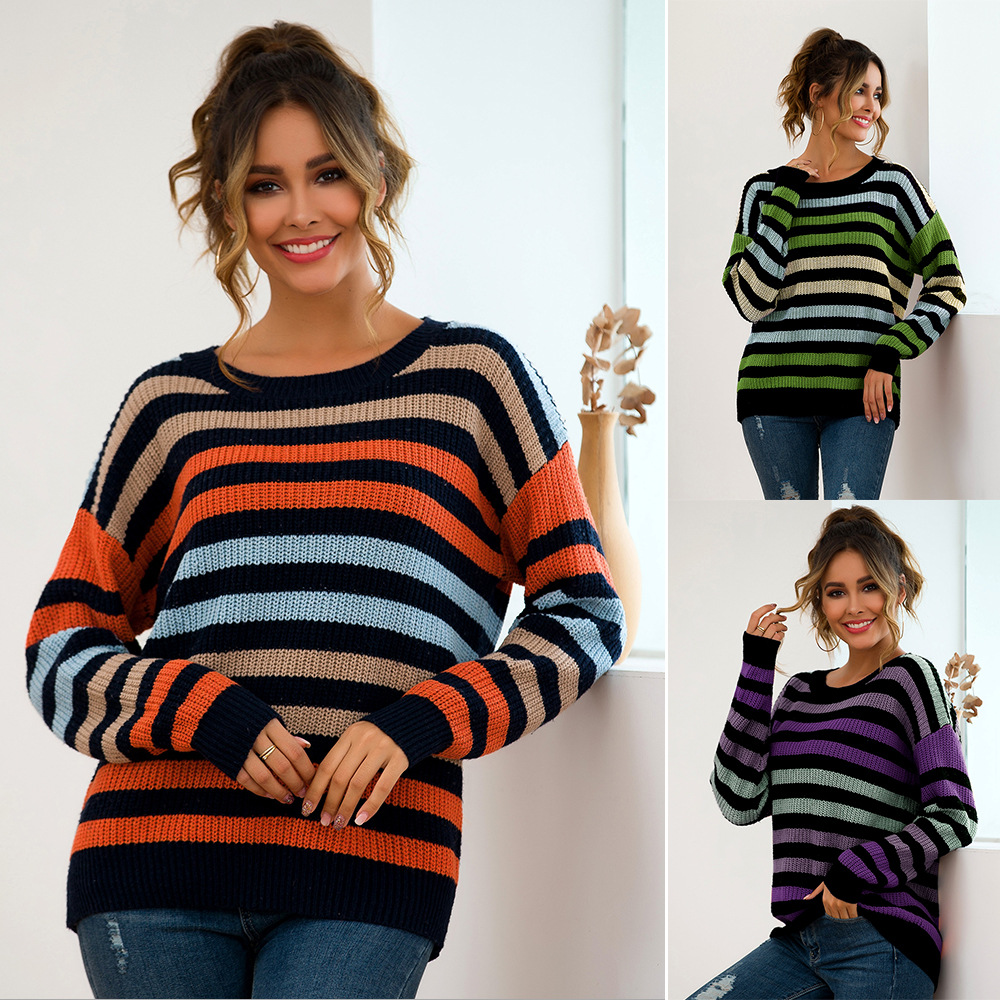 Fall/winter New Women's Blue Bottom Multicolor Striped Loose Knit Sweater Sexy Elegant Casual Women's Blouse Knitted Pullovers