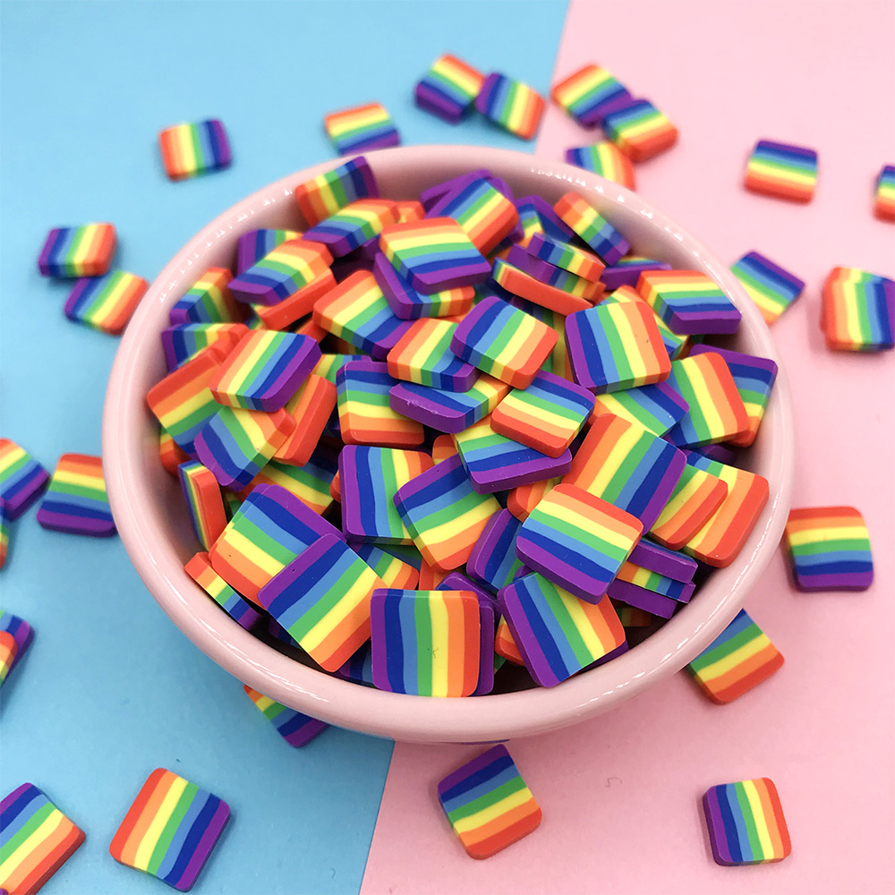 100g/lot Hot Clay Square Rainbow Slices DIY Fimo Polymer Clay Sprinkles For Slime Fit Phone Decoration Accessories Charms 11mm