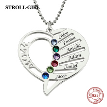 StrollGirl 925 Sterling Silver Pendant Necklace Engraved Heart Mother Birthstones Necklace for Women Sterling Silver Jewelry цена в Москве и Питере