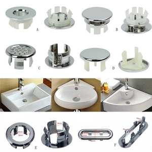 6 Assoeted Artistic Sink Overflow Spare Cover Chrome Trim Bathroom Ceramic Basin Bathroom Products Case Cover #116
