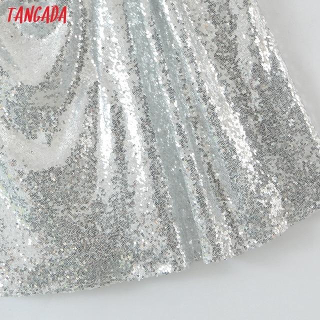 Tangada Women's New Year Dress Fashion Beading Short Dresses Strap Female Party Dress SL139 5