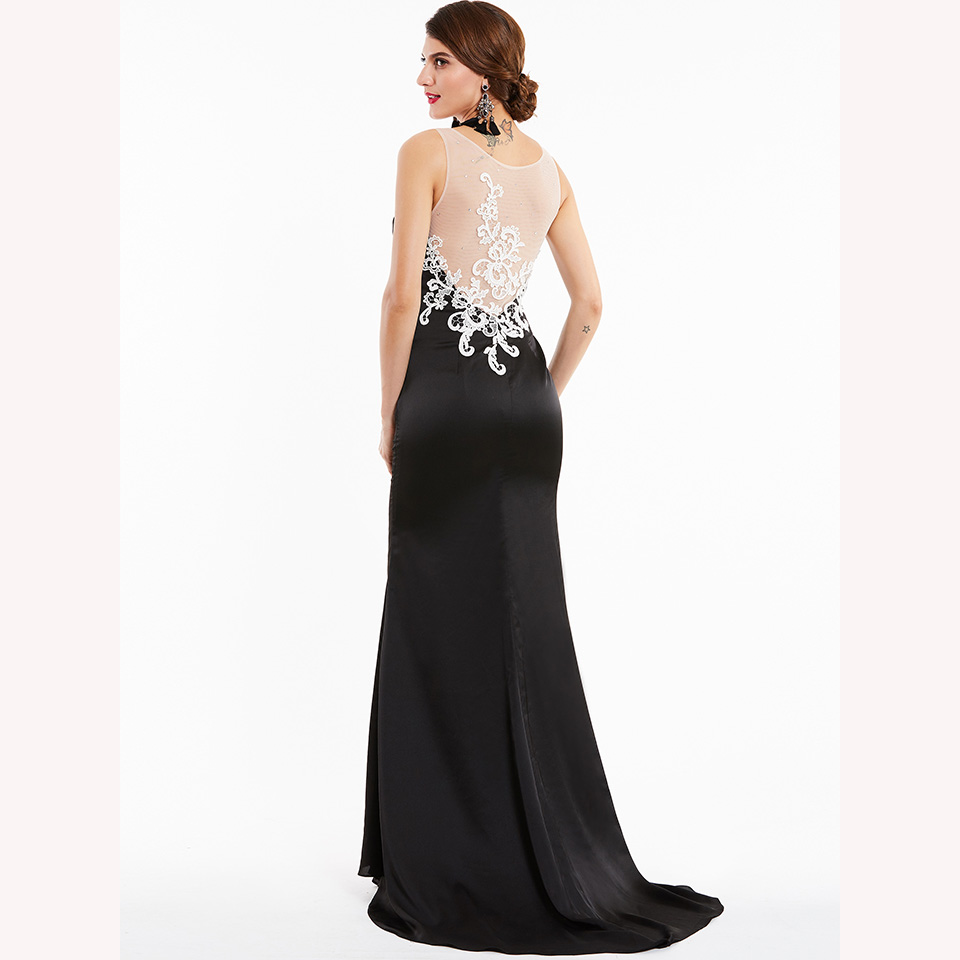 Image 4 - Dressv black long evening dress cheap scoop neck sleeveless appliques wedding party formal dress mermaid evening dresses-in Evening Dresses from Weddings & Events