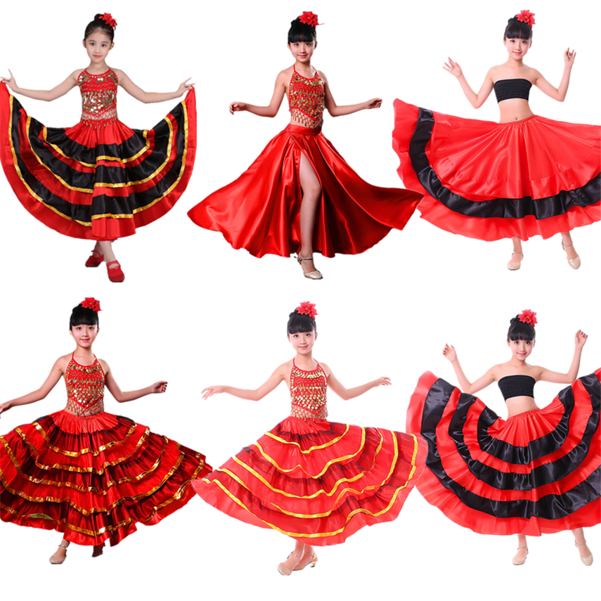 Girls Dance Dress Flamenco Spanish Gypsy Skirt Chorus Stage Performance Dresses For Girl Belly Spain Costume Kids 100-150CM