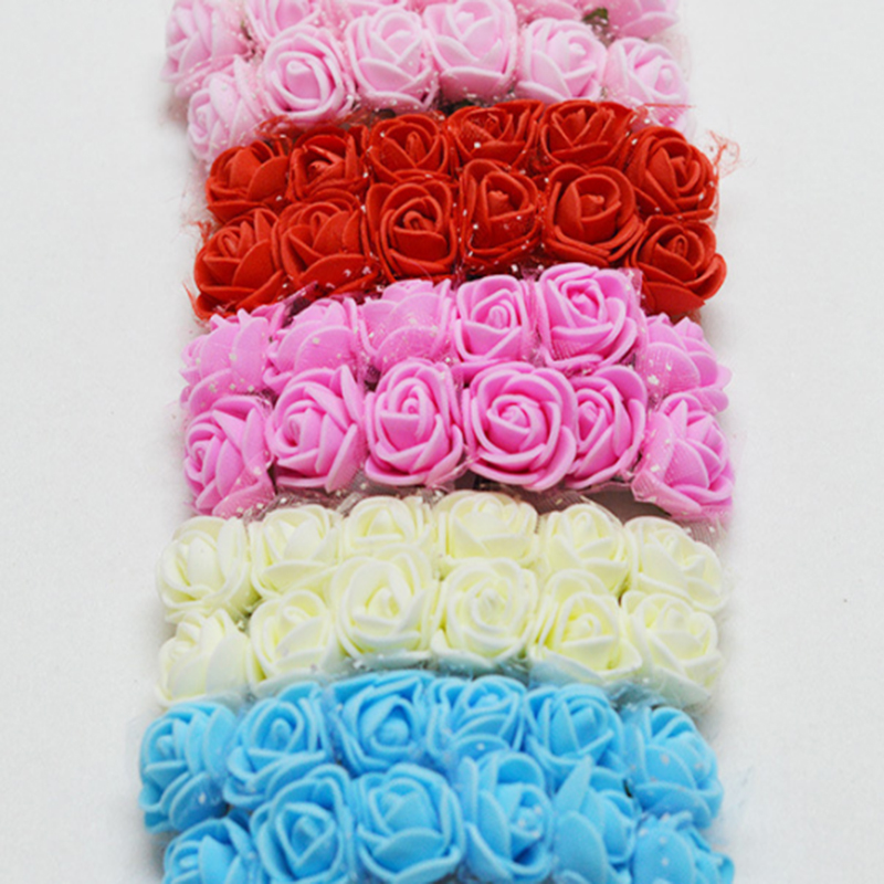 MINI Foam Roses for Home Wedding Fake Flower Decora Scrapbooking Diy Wreath Artificial Bouquet