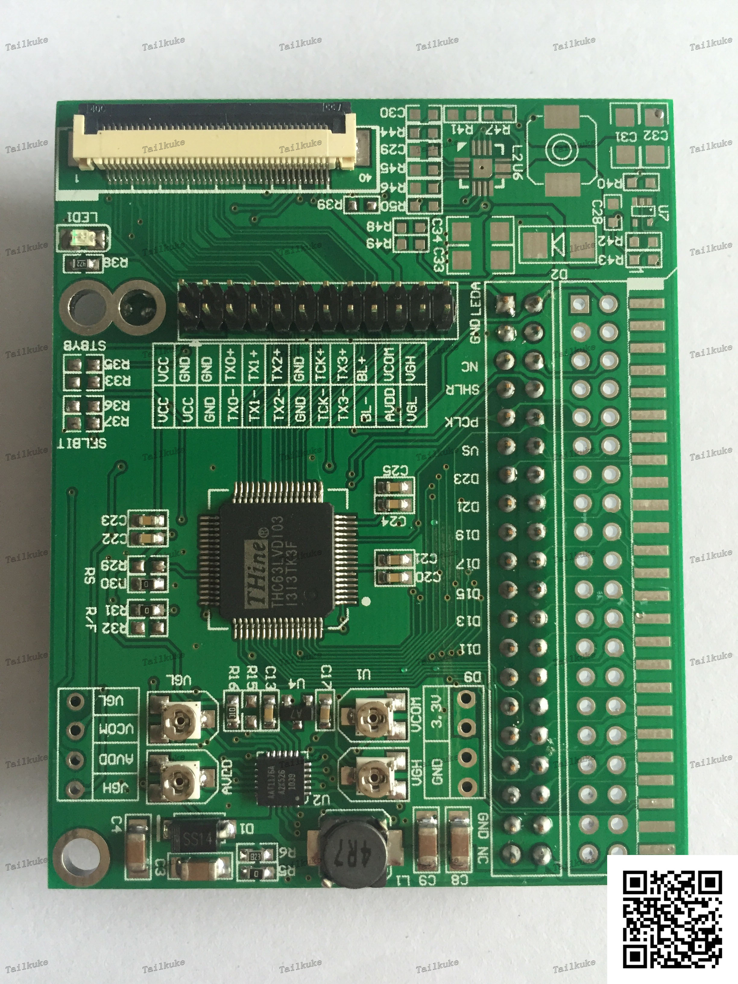 Single 8-channel TTL to LVDS Adapter Board with VGH.VGL.AVDD.VCOM Four-way Adjustable Voltage