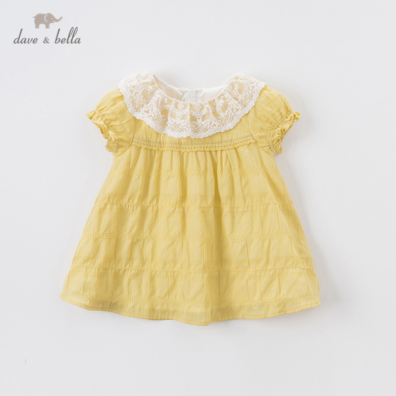 DBM13724 dave bella summer baby girl's cute floral lace zipper dress children fashion party dress kids infant lolita clothes