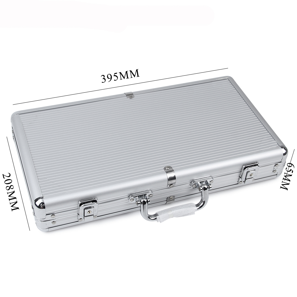 JULY' DOSAC Big Capacity Silver Stripe Aluminum Chips Box Playing Card Suitcase Non-slip Mat Portable Luggage