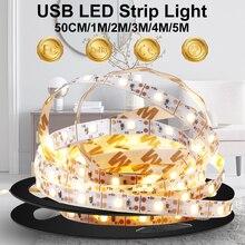 Полоса свет 5В светодиод фита лампа USB складной лента свет телевизор фон свет 30 60 120 180 240 300 светодиоды внутри украшение освещение
