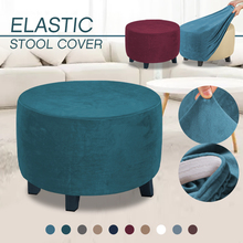 Slipcovers Furniture Sofa Footrest Ottoman Velvet Bedroom Round Stretch Solid-Color 3-Size