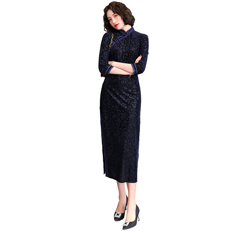 2020 Women's Cotton Oriental Style Dresses Printing Elastic Qipao Short Cheongsam Ancient Traditional Chinese Dress