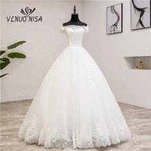 Najnowszy szata De Mariee Grande Taille suknia ślubna koronkowa łódź z dekoltem, bez ramienia suknia balowa księżniczka Plus rozmiar Vintage Brides 7