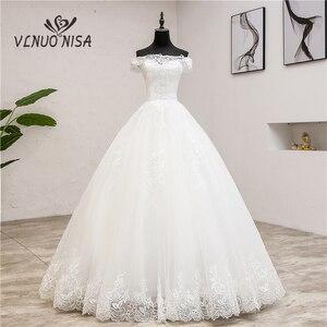 Image 1 - החדש Robe דה Mariee גרנדה Taille חתונת שמלת תחרת סירת צוואר כבוי כתף כדור שמלת נסיכה בתוספת גודל בציר כלות 7