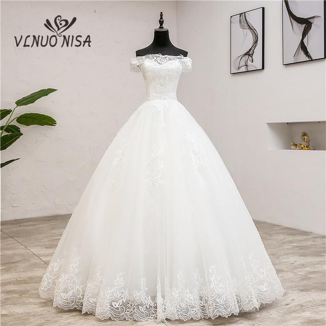 החדש Robe דה Mariee גרנדה Taille חתונת שמלת תחרת סירת צוואר כבוי כתף כדור שמלת נסיכה בתוספת גודל בציר כלות 7