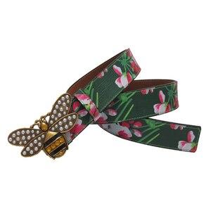 Image 3 - Cinturón de cuero con hebilla de abeja y diamantes de imitación para mujer