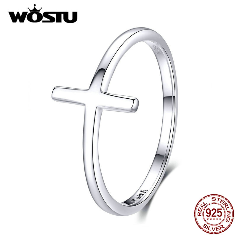 WOSTU New Arrival 100% 925 Sterling Silver Cross Fashion Ring Finger For Women Lover Wedding Rings Genuine Luxury Jewelry CQR562