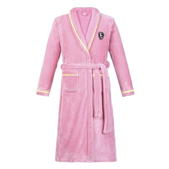 Flannel Women Robe Kimono Bathrobe Gown Casual Loose Nightdress Sleepwear Winter Thick Warm Coral Fleece Nightwear Home Clothes soft flannel coral nightwear fleece lovers dress men women s warm super long bath robe mens kimono bathrobe lace up gown robes