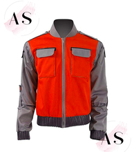 High-quality Movie Back To The Future Cosplay Costume Jr Marlene Seamus Marty Mcfly Jacket Orange Outwear Coat Made Any Size