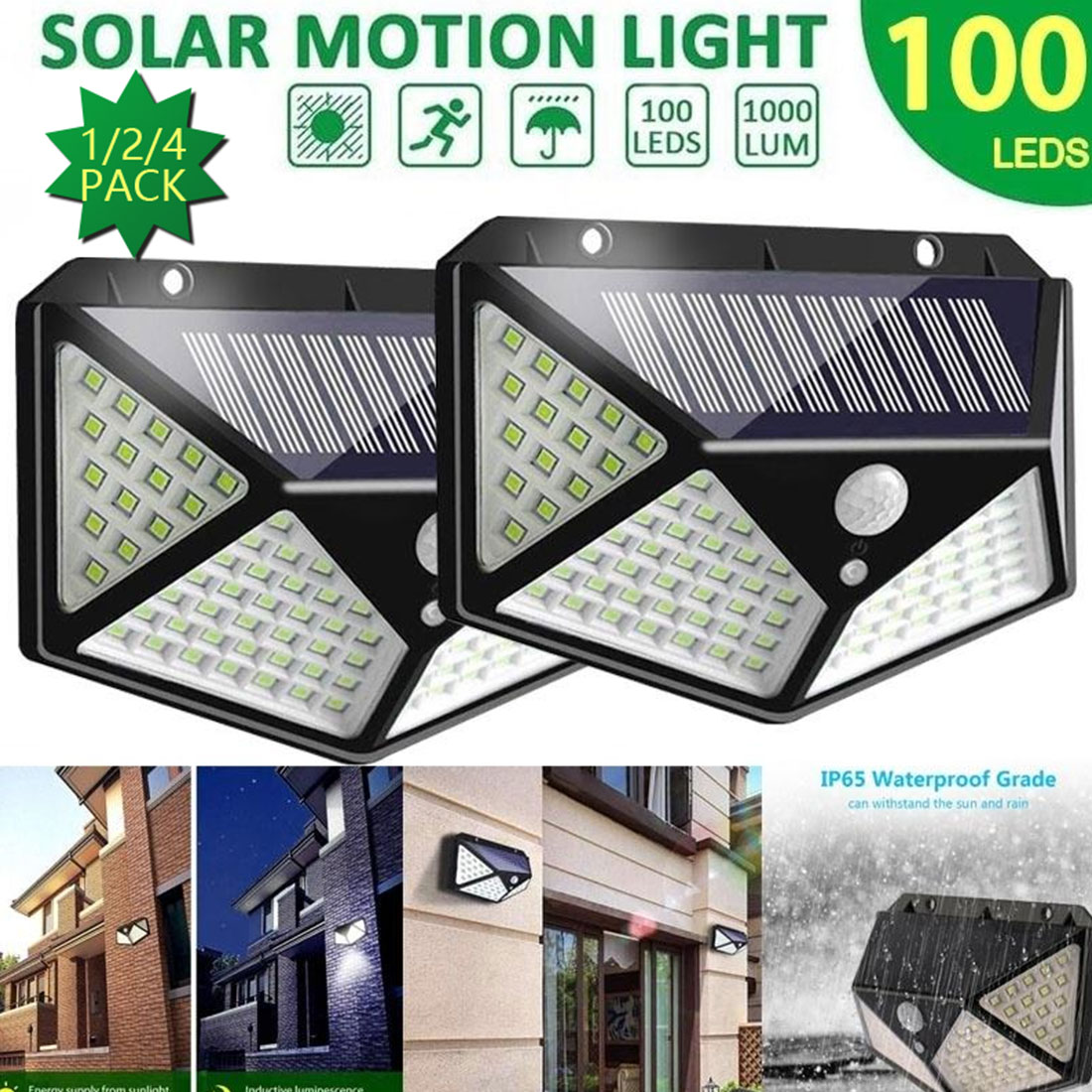 3 Modes 100 LEDs Solar Light Outdoor Solar Lamp Motion Sensor Wall Light Waterproof Solar Powered Sunlight for Garden Decoration