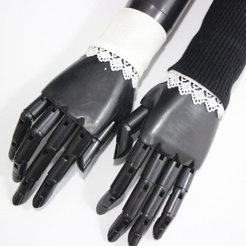 1Pair Detatchable Pleated Ruffles Fake Sleeve Chiffon Lace Floral False Cuffs 449F