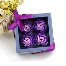 4Pcs Scented Rose Flower Petal Bouquet Gift Box Bath Body Soap Gift Wedding Party Favor Decoration 6 12 18pcs set scented rose flower petal bath body soap wedding party gift home party hotel wedding decoration