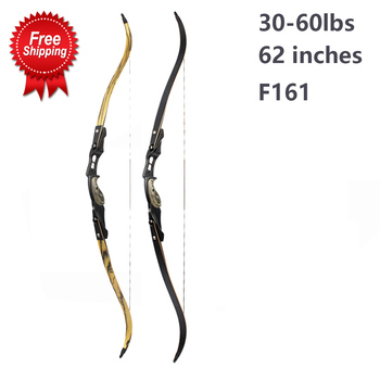 62 inches American Recurve Bow 30-60lbs Limbs IBO 190FPS with 17 Riser Accessories for Archery Hunting Shooting
