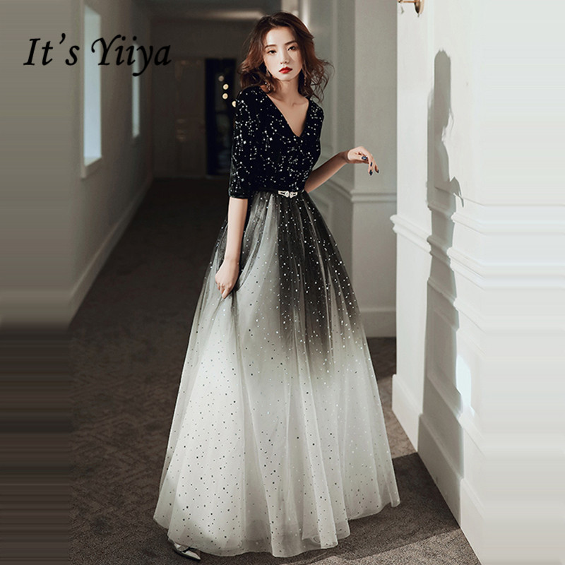 It's Yiiya Evening Dress For Women Gradient Black Shining Evening Dresses V-neck Formal Gowns Hafl Sleeve Robe De Soiree LF143