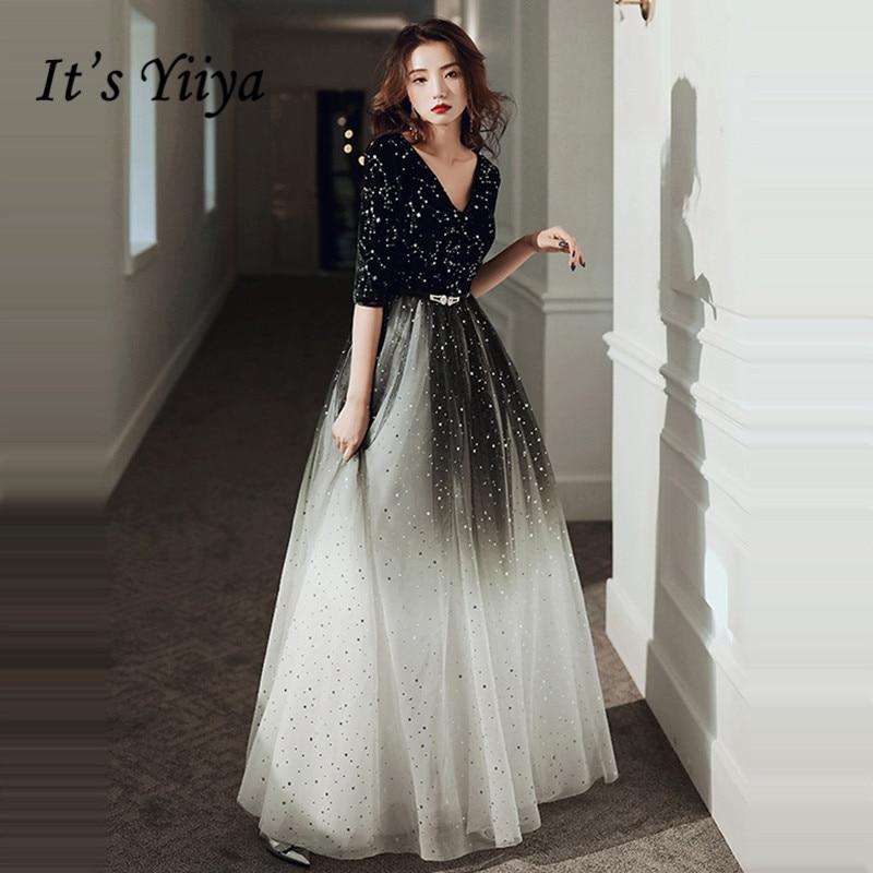 It's Yiiya Evening Dress For Women Gradient Black Shining Evening Dresses V-neck Formal Gowns Hafl Sleeve Robe De Soiree LF143