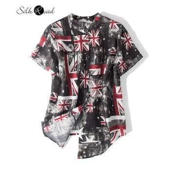 цена Silviye Printed silk shirt women's silk fashion short sleeve shirt stand collar blusas mujer de moda 2020 онлайн в 2017 году