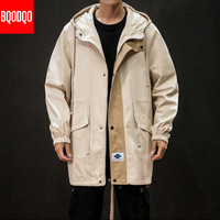 BQODQO Black Cotton Trench Long Coat Men Steampunk Mens Windbreaker Autumn Casual Overcoat Korean Style Military Jacket For Male
